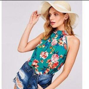 Floral Bubble Crepe Smocked Halter Top